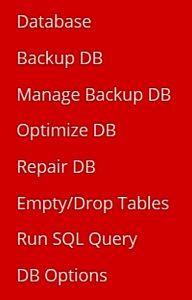 DBManager Menu