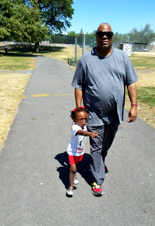 walking with little girl